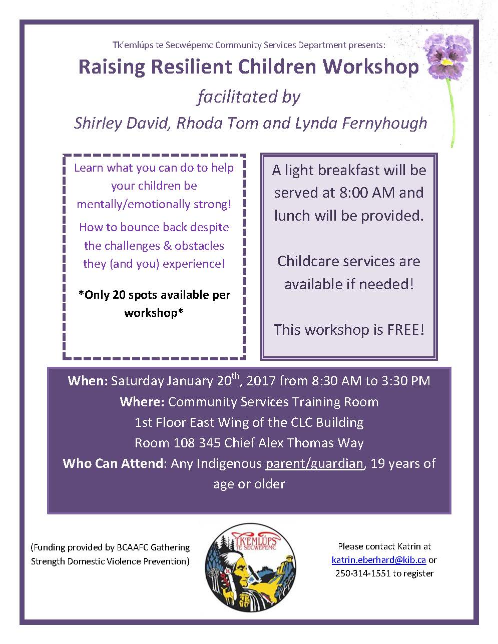 Raising Resilient Children Workshop @ Community Services Training Room