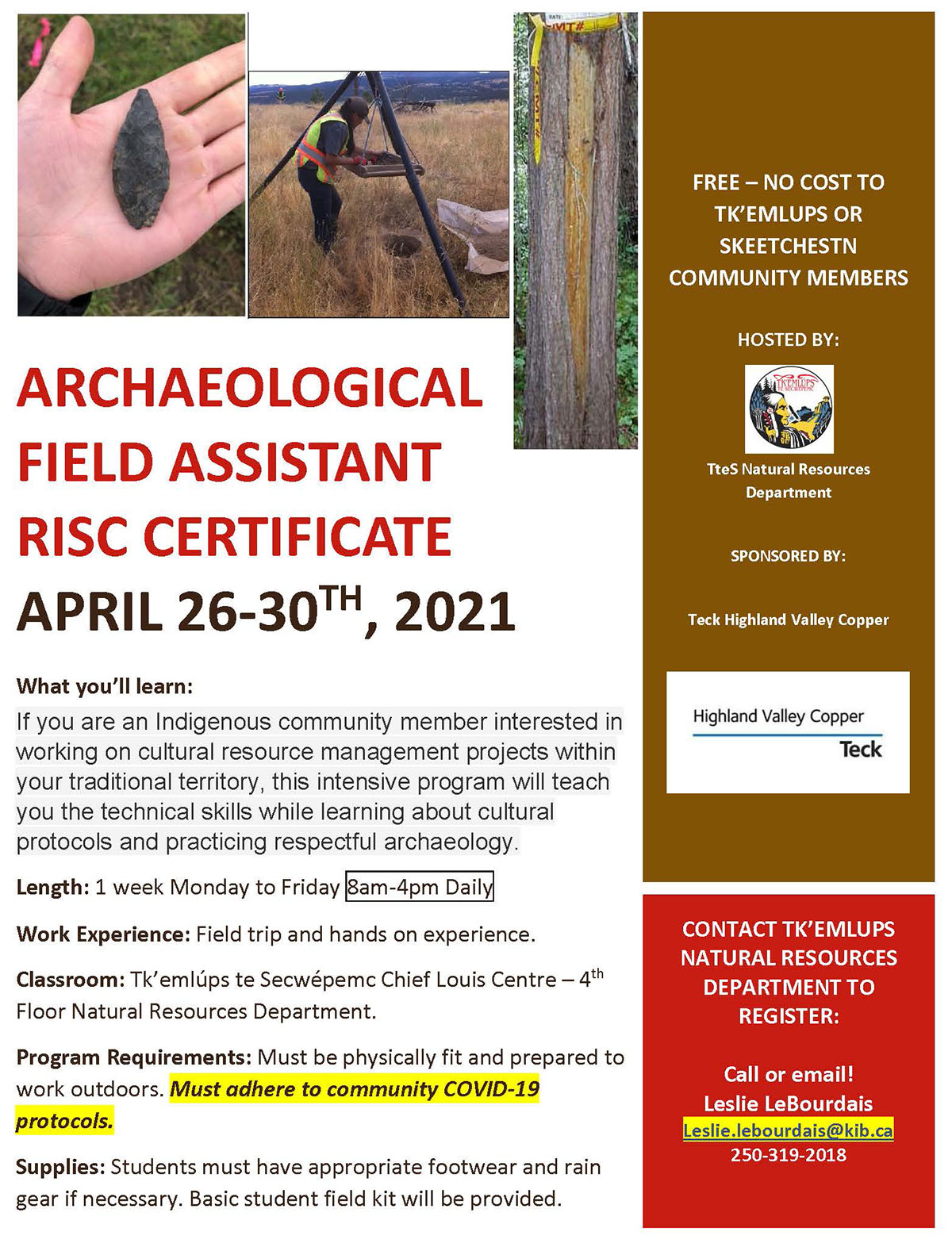 archaeological field assistant risc certificate