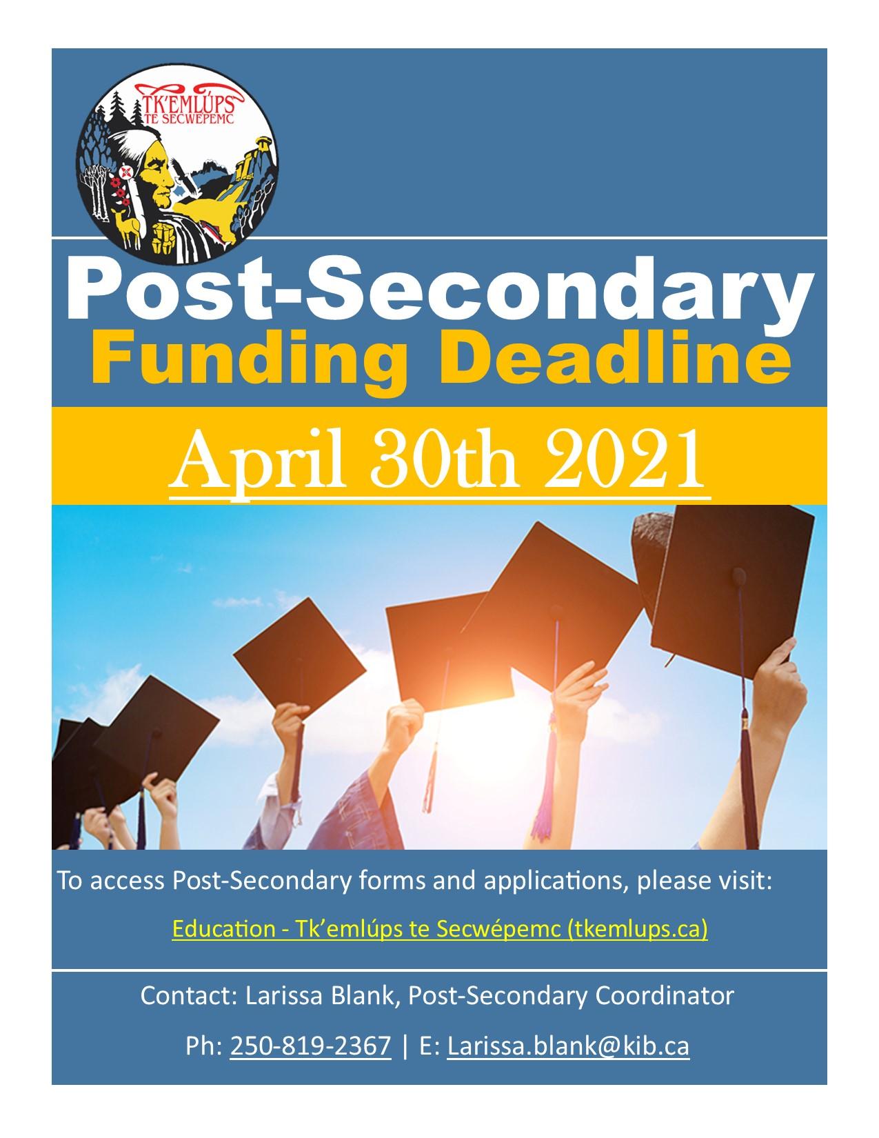 Tk̓emlúps te Secwépemc Post Secondary Funding poster